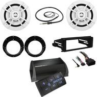 "Kicker Bluetooth Amplifier, 6.5""Speakers/Adapters, Antenna, Harley DIN FLHX  Kit"