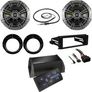 Kicker 6.5''Speakers w/Adapters,Kicker Bluetooth Amp,Harley FLHX DIN Kit,Antenna