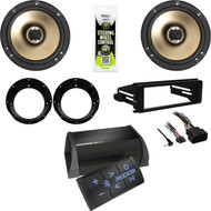 """Kicker Bluetooth Amplifier, 6.5"""" Speakers/ Adapters, Harley Install FLHX DIN Kit"""