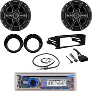 "Dual Bluetooth Stereo, Antenna,FLHX FLHT Harley Dash Kit, Kicker 6.5""Speaker Set"