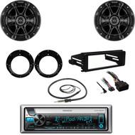 "CD Bluetooth USB Stereo, FLHTC Harley DASH Kit, Antenna, Kicker 6.5"" Speaker Set"