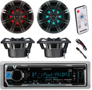 "Kenwood KMR-M318BT Marine Boat Yacht Outdoor Digital Stereo Radio Receiver, Kicker 41KM84LCW 8"" KM Series Coaxial Marine Speakers w/ LED Lights, Kicker 41KMLC LED Remote Controller"