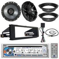 "Dual CD Stereo Harley, 98-2013 FHX DASH Kit, Antenna, Kicker 6.75"" Speaker Set"