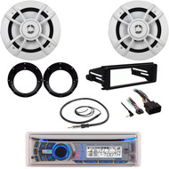 "Dual Bluetooth USB CD Radio, Harley DIN Kit, Antenna, 6.5"" Speakers/ Adapters"