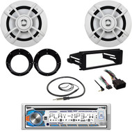 "Bluetooth CD Marine Radio,Harley FLHX DIN Kit,Antenna,6.5""100W Speakers/Adapters"