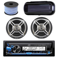 "JVC KD-X35MBS In-Dash Marine Boat Bluetooth Radio USB Receiver Bundle Combo With Pair Of Enrock EKMR1672 6.5"" Silver Dual-Cone Stereo Speakers + Stereo Waterproof Cover + 18g 50FT Marine Speaker Wire"