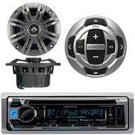 """Kenwood KMR-D368BT Marine Boat Yacht CD MP3 Bluetooth Stereo AM/FM iPod iPhone Radio Player, Kenwood KCA-RC35MR Wired Remote, Pair of Kicker 41KM652C 6.5"""" 2-Ohm Marine Speakers"""