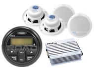 "Boat 400W Amplifier,5.25"" White Marine Speakers,Milennia Marine Bluetooth Radio"