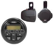 "2 Black 6.5"" 300W Wakeboard Speakers,Milennia Marine Bluetooth USB AUX Receiver"