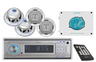 AQCD60BTS In-Dash Marine Detachable Stereo W/Bluetooth+ 2-Way Speakers+Amplifier