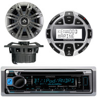 """Kenwood KMR-D368BT Marine Boat Yacht CD MP3 Bluetooth Stereo AM/FM iPod iPhone Radio Player, Kenwood KCA-RC55MR Wired Remote, Pair of Kicker 41KM652C 6.5"""" 2-Ohm Marine Speakers"""