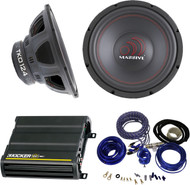 "PACKAGE Bundle KIT INCLUDES: 1 Pair (total of 2) Massive Audio TKO124 TKO Series 600 Watts 12"" Dual 4 Ohm Car Audio Subwoofer + 1 Kicker 12CX6001 600 Watt RMS Monoblock Amp Mono Power Amplifier = 1 Cadence WK81 Complete 8 Gauge Wire Kit."
