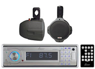 "2 Black 200W 6.5""Marine Wakeboard Speakers, Lanzar Bluetooth USB CD Marine Radio"