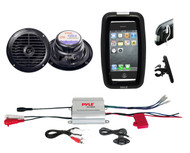 Bicycle Bike Marine iPod MP3 Input Amplifier, Black Round Speakers, Phone Holder