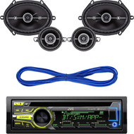 "JVC KD-AR959BS Arsenal Series In-Dash CD Receiver, 2) Kicker 41DSC684 D-Series 6x8"" 200 Watt 2-Way 4-Ohm Car Audio Coaxial Speakers, Kicker DSC35 (41DSC354) 3-1/2"" D-Series Coaxial 2-Way Car Speakers With 1/2"" Tweeters, 14 Gauge 50 Foot Speaker Wire"