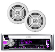"Kenwood Marine Mp3 USB CD AUX iPod Receiver, 2 White Dual 6.5"" 100W Speaker Set"