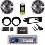 "DUAL Bluetooth Stereo, XM Tuner,Harley FLHT Dash Kit, 300W Amp, 6.5""Speaker Set"