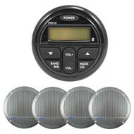 "Milennia Marine Bluetooth AUX USB AM FM Round Radio, 5.25"" Marine Silver Speaker"