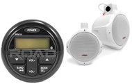 "200W 6.5"" Marine Wakeboard Speakers, Milennia Marine Bluetooth USB AUX Receiver"