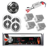 New KMRD558BT MP3 CD Pandora USB iPhone Radio,800W Amp,Wired Remote& 8 Speakers