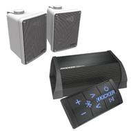 """Bluetooth Kicker 2 Channel Portable Amplifier, 2 White Kicker 6.5"""" Box Speakers"""