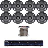 """5.25"""" 150W In-Ceiling Speakers,4 Channel Speaker Selector,100FT 16G Speaker Wire"""