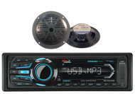 "2 Black 5.25"" Marine Speakers and Boss Bluetooth iPod USB AUX SD Marine Receiver"