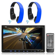 "2 Blue Wireless Headphones, Pyle 7""Double Din iPod CD USB DVD AM FM Car Receiver"