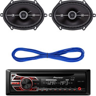 "Pioneer DEH150MP CD MP3 Playback AM/FM Radio Single Din Car Receiver with Remote, 2) Kicker 41DSC684 D-Series 6x8"" 200 Watt 2-Way 4-Ohm Car Audio Coaxial Speakers, 14 Gauge 50 Foot Speaker Wire"