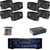 "3.5"" Black Box Speakers, Speaker Wire, Pyle USB DVD Receiver, Speaker Selector"