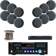 "5.25"" In-Ceiling Black Speakers,PD1000A DVD USB Receiver,Speaker Selector/Wiring"