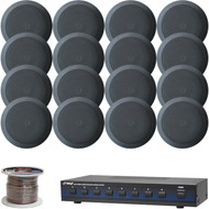 "16 x 5.25"" White 150W In-Ceiling Black Speakers,Wire, 8-Channel Speaker Selector"