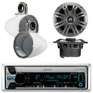 """Kenwood KMR-D765BT Marine Boat Yacht Outdoor CD MP3 USB AUX Bluetooth AM/FM Radio Receiver, Pair of Kicker 41KM652C 6.5"""" 2-Ohm Marine Speakers, Pair Of Kicker 12KMTESW White 6 1/2"""" Wakeboard Tower Enclosures"""
