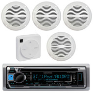 "Package Bundle Kit Includes: 1 Kenwood KMR-D368BT Bluetooth Stereo USB/AUX CD Player Receiver Unit + 4 x (2 Pairs) of Magnadyne AquaVibe WR65W 6-1/2"" Inch White Marine Speakers + 1 Dual XGPS10M Boat Bluetooth Wireless GPS Receiver"