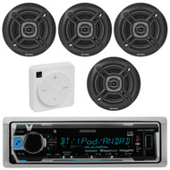 "Package Bundle Kit Includes: 1 Kenwood KMR-M318BT Bluetooth Stereo USB/AUX Receiver Unit + 4x (2 Pairs) of Enrock EKMR1672B 6-1/2"" Inch Black Marine Speakers + 1 Dual XGPS10M Boat Bluetooth Wireless GPS Receiver"