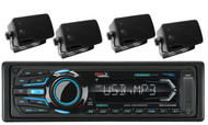 Boss Boat USB iPod iPhone SD AM FM Bluetooth Radio & 4 Marine Black Box Speakers