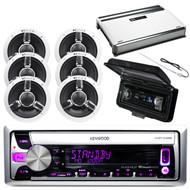 "Kenwood Marine iPod CD USB Radio, Amplifier, Cover, Antenna, 6.5""Marine Speakers"
