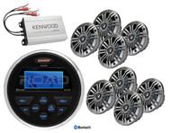 "MS30BTR Jensen Bluetooth USB AUX Radio, Amplifier, 8 Marine 6.5"" Kicker Speakers"