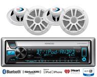 "Marine Bluetooth CD USB iPod Kenwood Radio, 4 White Boss 6.5"" Marine Speaker Set"