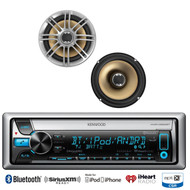 "2 Polk Marine 6.5"" 330W Speakers, Kenwood Marine Bluetooth iPod USB CD Receiver"