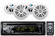 "4 White 6.5""Speakers, Pioneer Bluetooth iPod USB CD AUX Car Radio"
