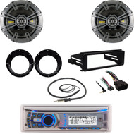 Dual Bluetooth Stereo, Harley Dash FLHTC 98-2013 Kit,Antenna, Kicker Speaker Set