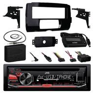 JVC KD-R670 Single DIN In-Dash CD/AM/FM/ Receiver, Metra 99-9700 Harley Davidson Dash Kit, Metra Axxess ASWC-1 Universal Steering Wheel Control Interface, EKMR1 Enrock Marine Black Wire Antenna