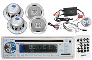 "1200W Bluetooth Boat Amplifier, 6.5"" Marine Speakers, Marine USB AM FM CD Radio"