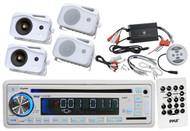 "Marine 5"" Mini Box White Speakers,1200W Bluetooth Amplifier,USB AUX AM FM Radio"
