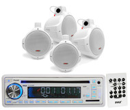 """White Marine 6.5"""" Wakeboard 2Way Speakers, Pyle USB SD CD AUX AM FM Mp3 Receiver"""