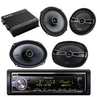 "This Bundle Combo Kit Includes Pioneer DEHX6900BT Car CD/MP3 Bluetooth Receiver + 2 X Kicker 41KSC654 6.5 Inch Stereo Speakers + 2 X 6x9"" 41KSC694 Speaker + Enrock EKMB500ABT Bluetooth Waterproof Amplifier"