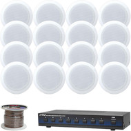 """Pyle 8"""" 250W In-Ceiling Speakers, 100FT Speaker Wire, 8-Channel Speaker Selector"""