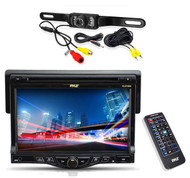"7"" Pyle Touch CD AM FM USB Mp3 Receiver, Rear Back Up License Plate Mount Camera"