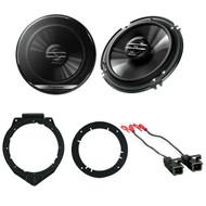 "Pioneer 6.5"" Inch 2 Way Car audio Stereo Speakers W/ Door Mounting Brackets & Wire Harness - Complete Car Speakers Package"